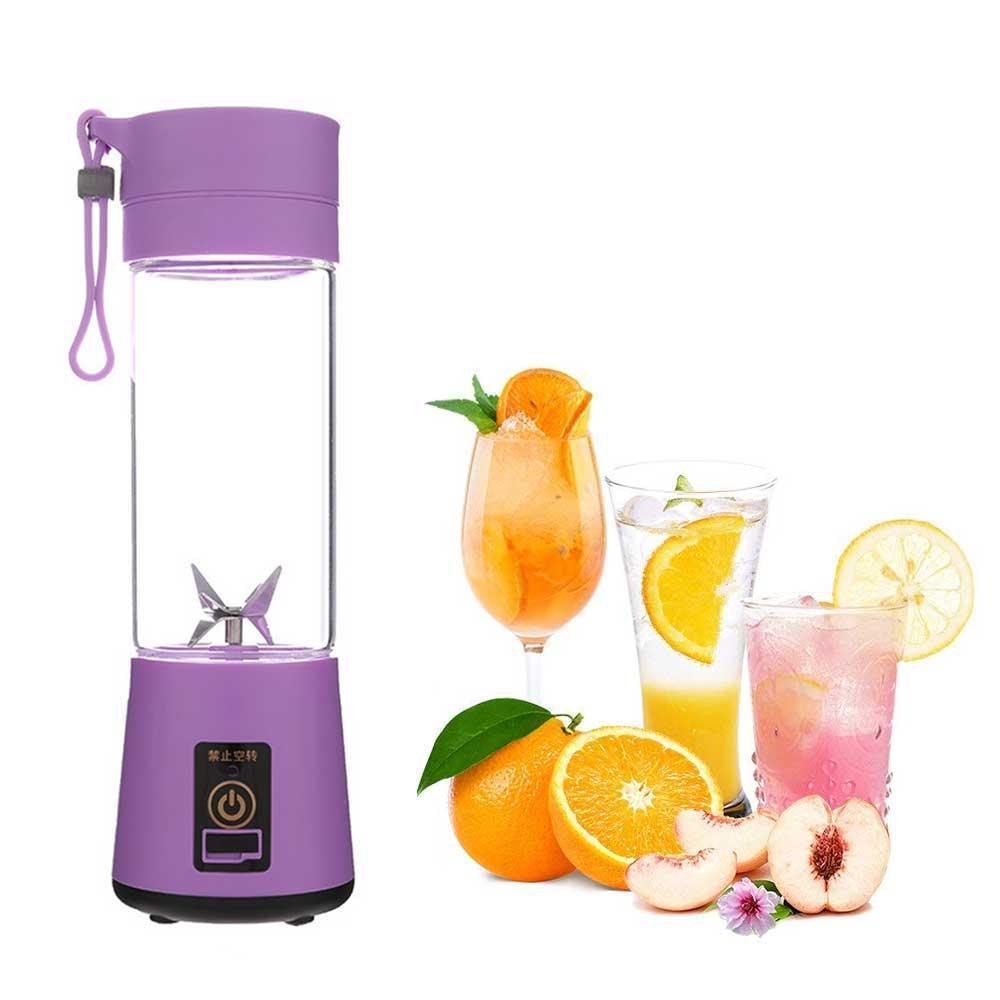 Беспроводной блендер портативный Smart Juice Cup Fruits USB Фиолетовый 4 ножа, фото 1