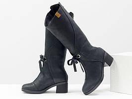 Стильные черные сапоги для женщин из матовой натуральной кожи, 36-41р.