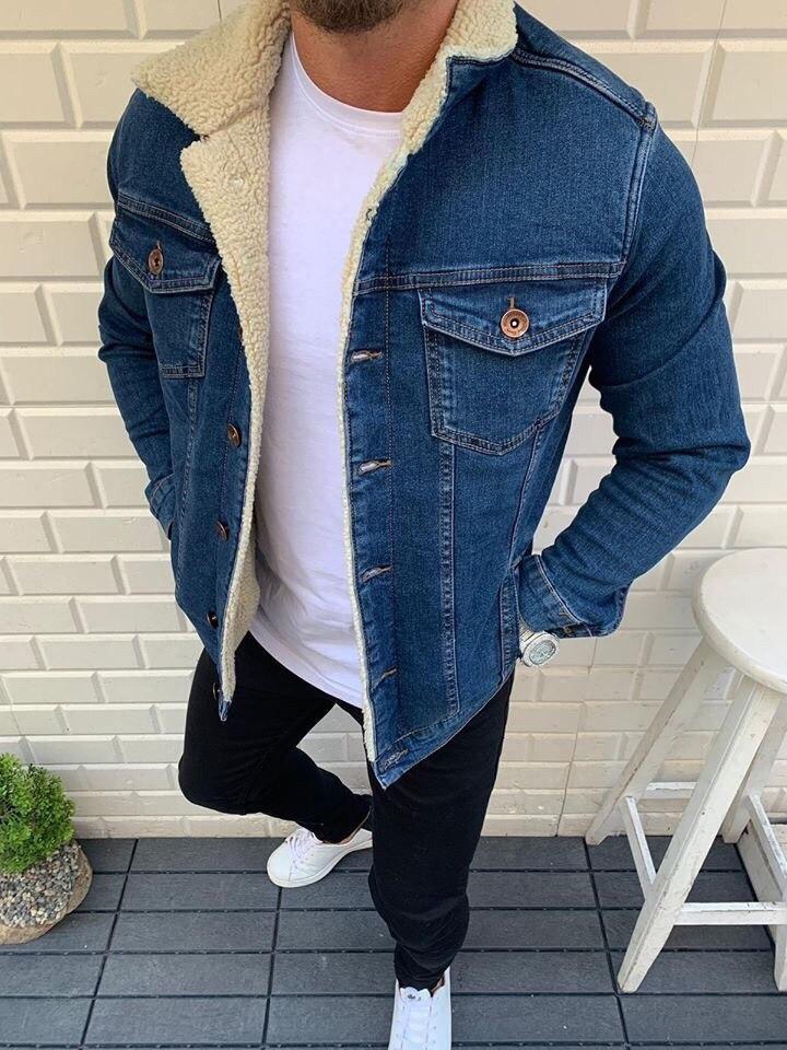 😜Джинсовая куртка синяя с белым  меховым воротником люкс качество