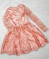 Нарядное Платье для девочки Тая 134  пудра, ( код 4985-00 )