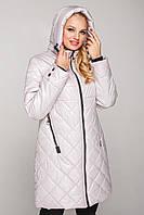 Женская куртка весна осень большого размера 50-58 жемчужная
