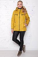 Женская лакированная куртка весна осень большого размера 50-60 размера горчичная