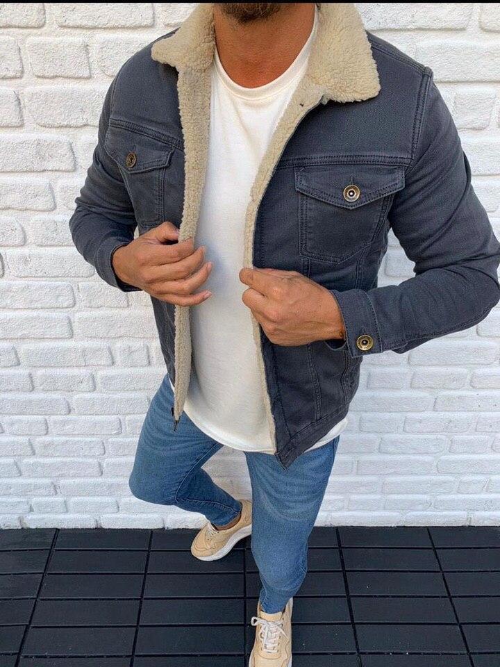 😜Джинсовая куртка серая с белым  меховым воротником люкс качество