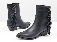 Дизайнерская обувь. Эксклюзивные казаки с бахромой черного цвета из натуральной кожи 36-41р.