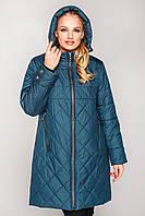 Женская куртка весна осень большого размера 50-66 темно-зеленая