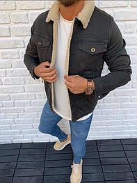 😜Джинсовая куртка зеленая с белым  меховым воротником люкс качество
