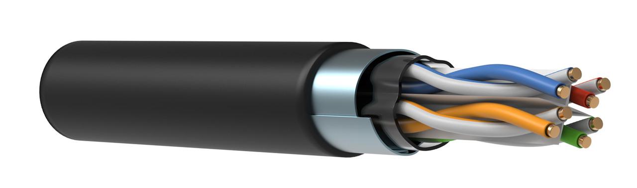 Кабель F/UTP, кат.6 4х2х23AWG, solid LDPE, 305м, черный