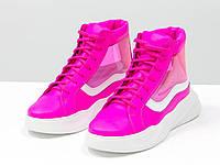 Дизайнерские прозрачные ботинки из натуральной неоновой кожи малинового и белого цвета 36-41р.