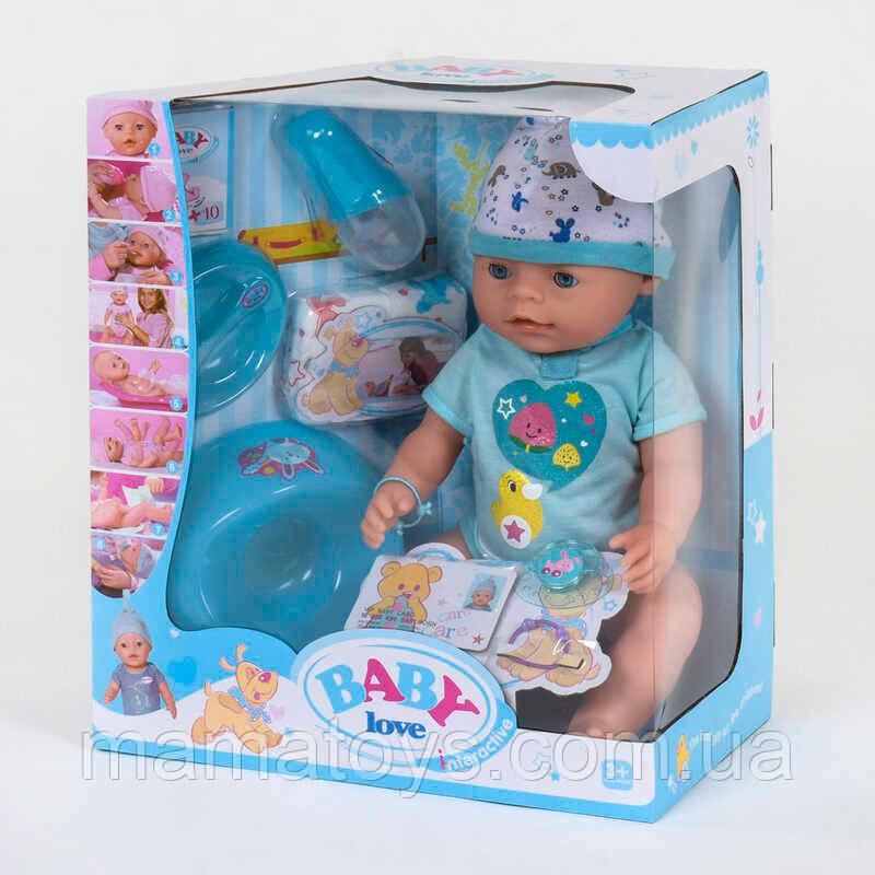 Кукла Baby. Беби Пупс BL 034 B   42 см, горшок, подгузник, соска, тарелка, каша