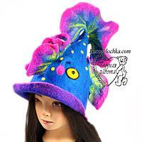 Банна шапка риба, жіноча, натуральна шерсть, ручна робота, будь-який образ і тематика під замовлення