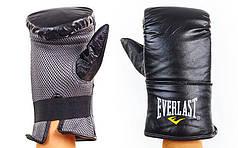 Снарядные перчатки Кожа Everlast (S-L, черный) PZ-MA-3645