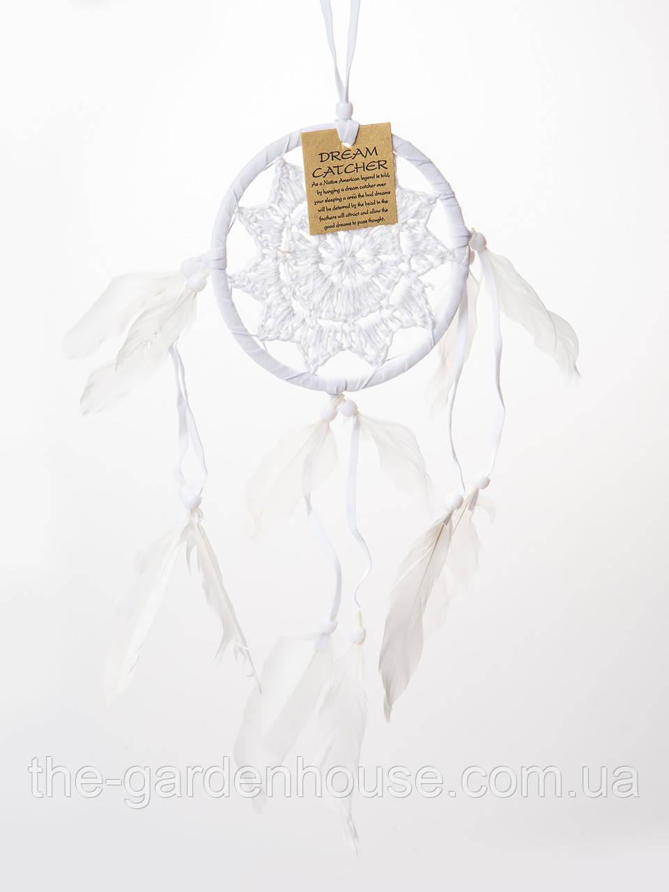 Ловец снов натуральный (белое плетение), d-12 см