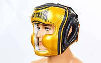Шлем боксерский с полной защитой кожаный Twins (S-XL, золотой-черный) S PZ-FHG-TW4GD-BK_1
