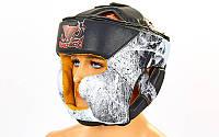 Шлем боксерский с полной защитой FLEX BDB SPIDER (черный-белый, M-XL) PZ-VL-6601