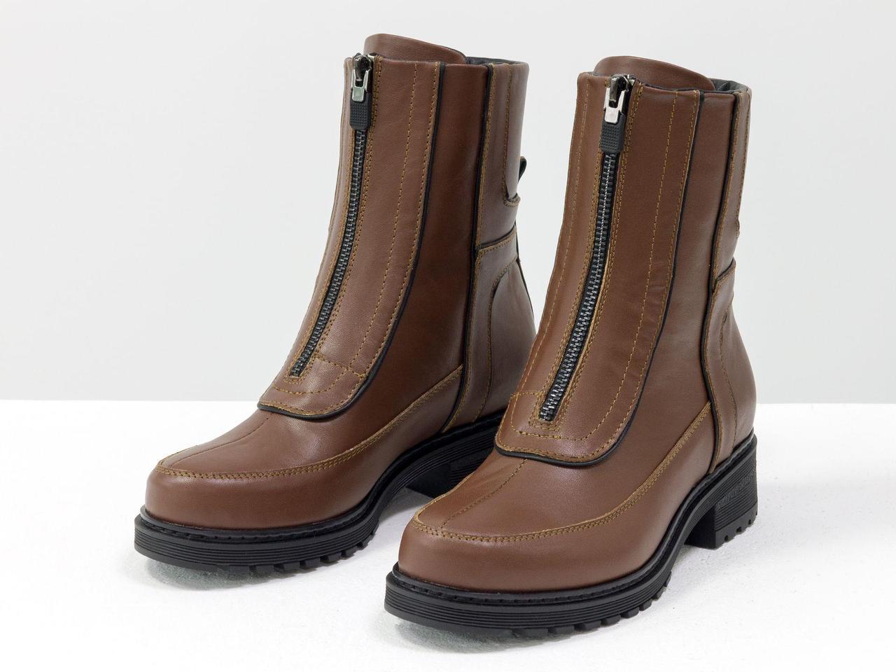 Модні високі дизайнерські черевики з натуральної шкіри світло-коричневого кольору, 36-41р.