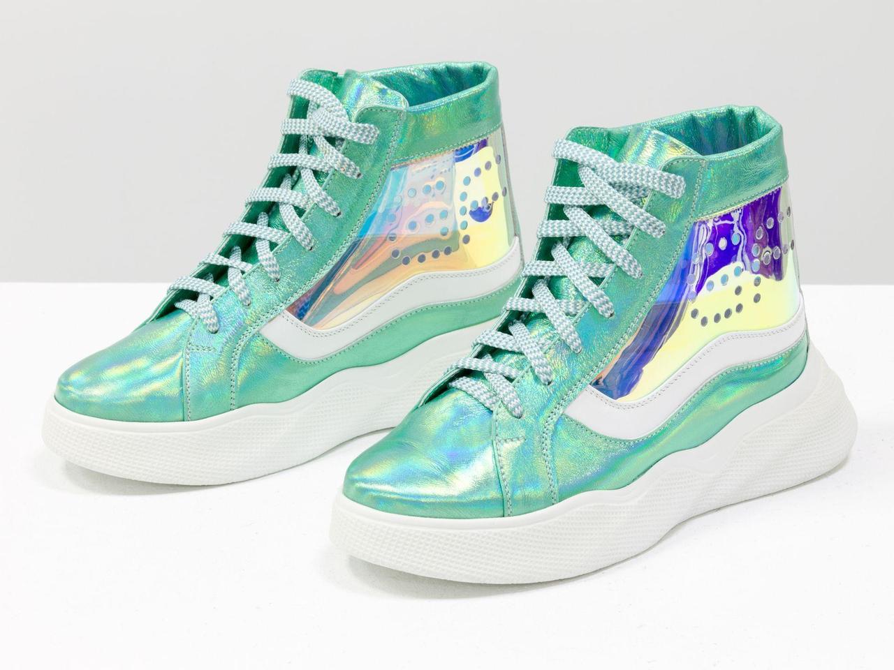 """Дизайнерские прозрачные ботинки из натуральной блестящей кожи голубой """"бензин"""" 36-41р."""