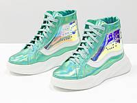 """Дизайнерские прозрачные ботинки из натуральной блестящей кожи голубой """"бензин"""" 36-41р., фото 1"""