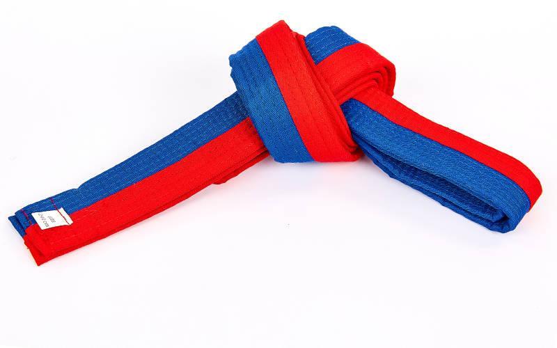 Пояс для кимоно двухцветный (хлопок, размер 00-5, длина 220-280см, синий-красный) 00-0 длина 220см PZ-BO-7258_1