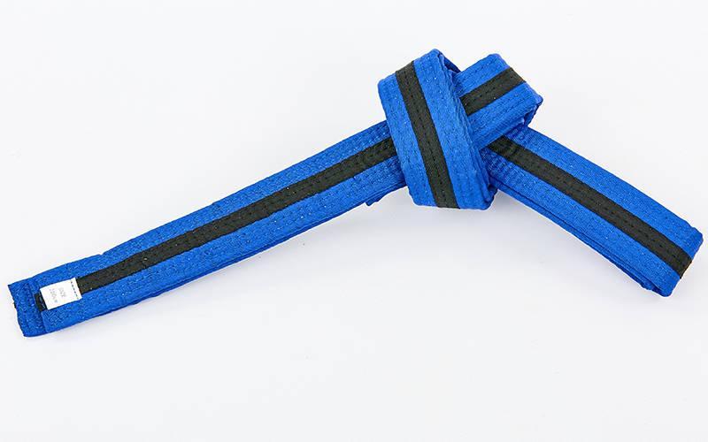 Пояс для кимоно двухцветный (хлопок, размер 00-5, длина 220-280см, синий-черный) 00-0 длина 220см PZ-BO-7266_1