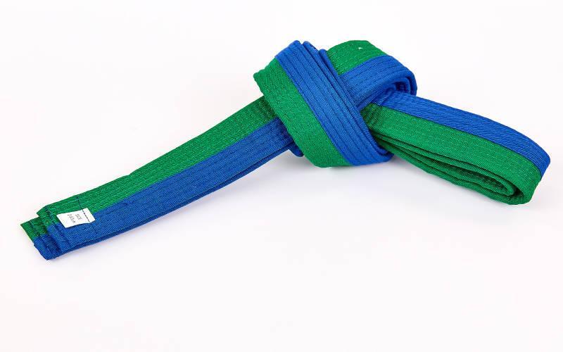 Пояс для кимоно двухцветный (хлопок, размер 00-5, длина 220-280см, синий-зеленый) PZ-BO-7257