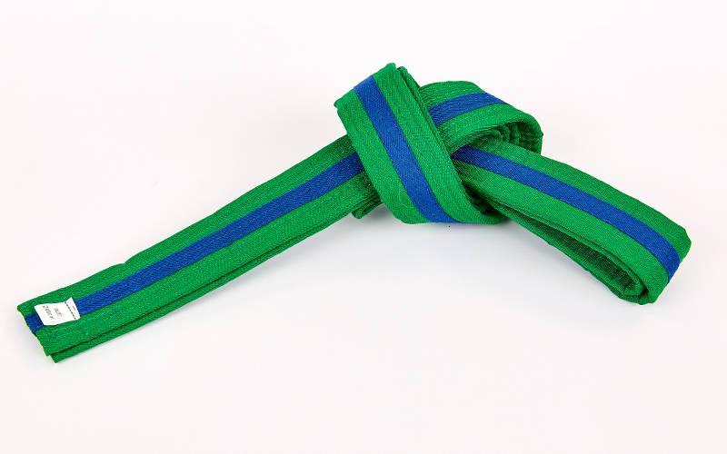 Пояс для кимоно двухцветный (хлопок, размер 00-5, длина 220-280см, зеленый-синий) 00-0 длина 220см PZ-BO-7263_1