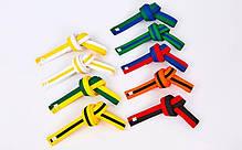 Пояс для кимоно двухцветный (хлопок, размер 00-5, длина 220-280см, зеленый-синий) 00-0 длина 220см PZ-BO-7263_1, фото 3