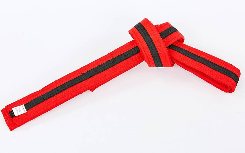 Пояс для кимоно двухцветный (хлопок, размер 00-5, длина 220-280см, красный-черный) 00-0 длина 220см PZ-BO-7265_1