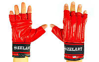 Снарядные перчатки шингарты кожаные с манжетом на липучке Zelart (размер M-XL) Красный M PZ-ZB-4225_1