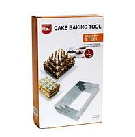 """Комплект форм для выпечки тортов и десертов """"Прямоугольник"""", нержавейка"""