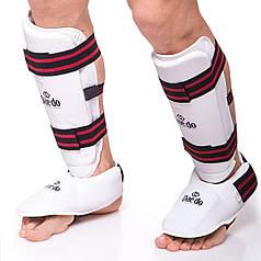 Защита голени с футами PU Daedo (XS-XL, белый-черный-красный) PZ-BO-5074-W