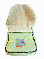 Зимний детский конверт на овчине салатовый