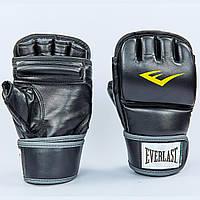 Перчатки для смешанных единоборств MMA PU EVERLAST HEAVY BAG (р-р L-XL, черный-серый)