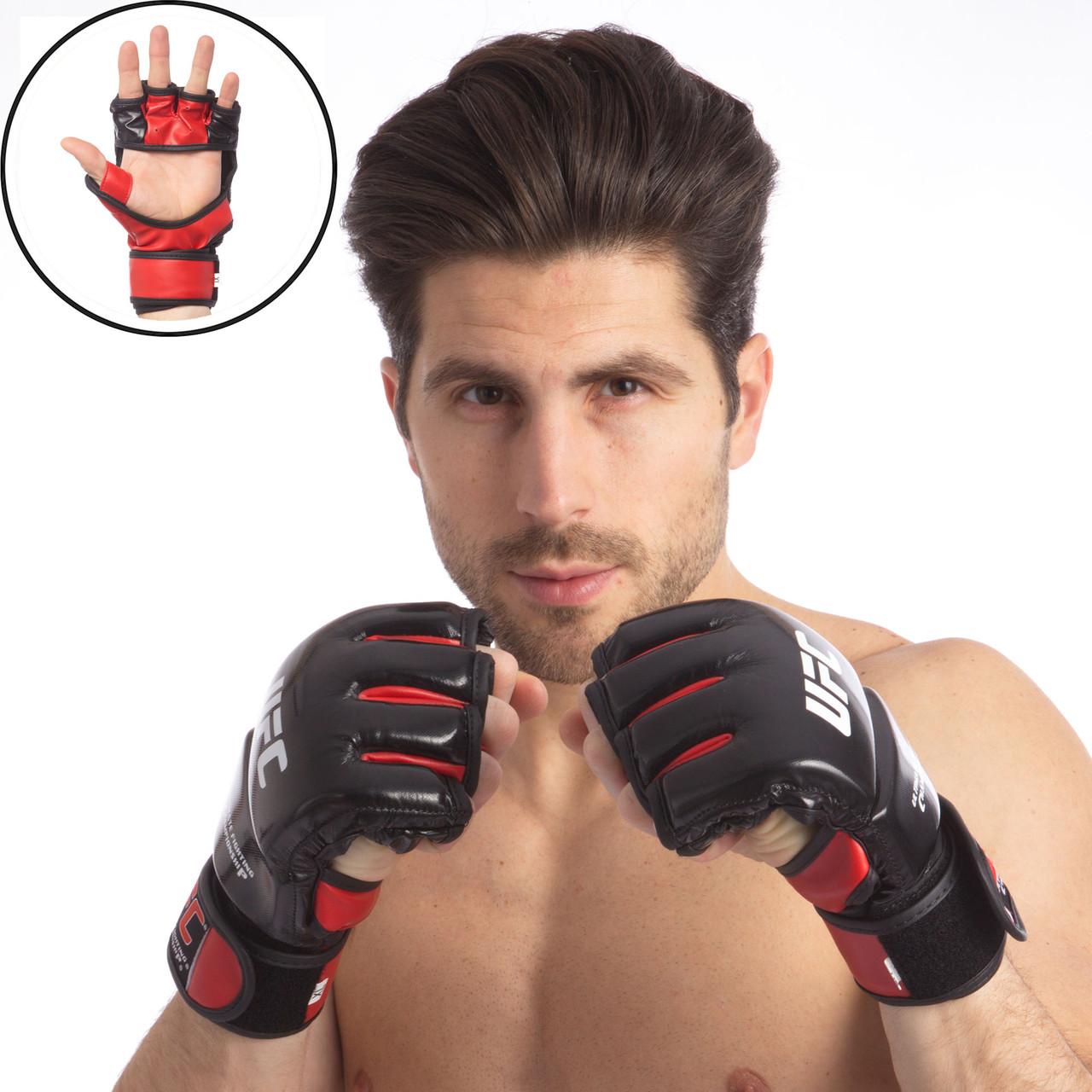 Перчатки для MMA кожаные (S-XL) Черный-красный S PZ-UFC08_1