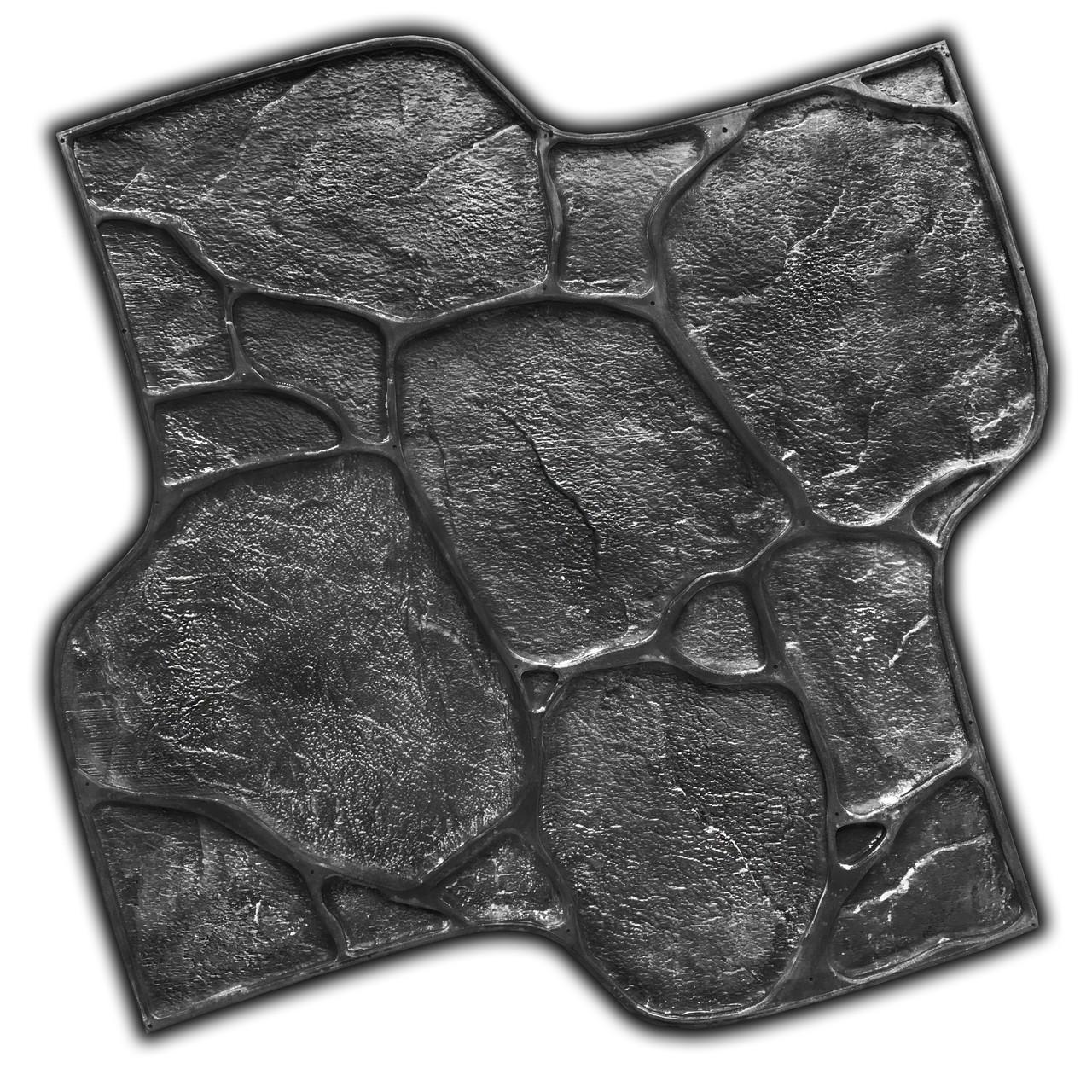 Садовый камень Галька - штамп 600х600 мм из вулканизированной резины; оттиск с имитацией камня для бетона