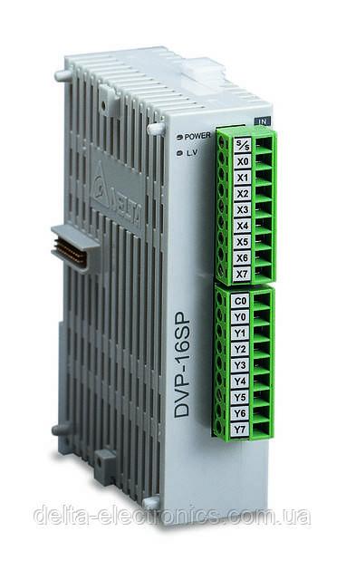 Модуль расширения для контроллеров серий SS2, SA2, SX2, SV, SE 8DI/8DO транз., питание 24В, DVP16SP11T