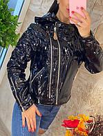 Куртка женская весенняя лаковая косуха, фото 1