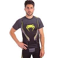 Комплект компрессионный мужской (футболка с коротким рукавом и шорты) Venum TECHNICAL 2.0 (PL, эластан, M-2XL-165-185cм, черный-салатовый M 165-170
