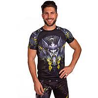 Комплект компрессионный мужской (футболка с коротким рукавом и шорты) Venum VIKING (PL, эластан, M-2XL-165-185cм, черный-серый-желтый) M 165-170