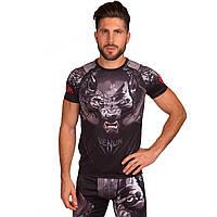 Комплект компрессионный мужской (футболка с коротким рукавом и шорты) Venum WOLF (PL, эластан, M-2XL-165-185cм, черный-красный) M 165-170
