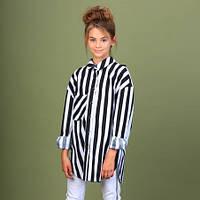 Коттоновая рубашка для девочки Mone 2005-1, цвет полоска