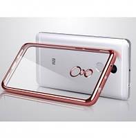 Прозрачный силиконовый чехол для Xiaomi Redmi 4 с глянцевой окантовкой Розовый
