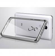 Прозрачный силиконовый чехол для Xiaomi Redmi 4 с глянцевой окантовкой Серебряный