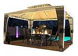 Павильон шатер Ротанговый 3x4 м Черно-серый с Диодным освещением, фото 2