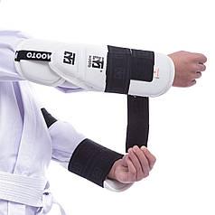 Защита предплечья и локтя для тхэквондо Mooto (PU, S-M, крепление на липучках, белый) PZ-BO-0396