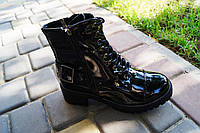 Ботинки женские черные лак. Польша