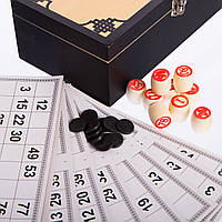 Лото настольная игра в деревянной коробке (90 дер.боч.,48 карт,40 фиш, 24x13x8см) PZ-W9903