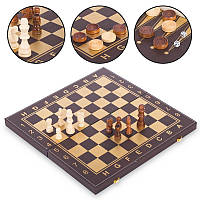 Шахматы, шашки, нарды 3 в 1 кожзам (фигуры-дерево, р-р доски 34x34см, черный-золотой)