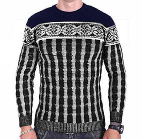 Мужской свитер Msatiff k0218/1 Темно-синий с Черным XL