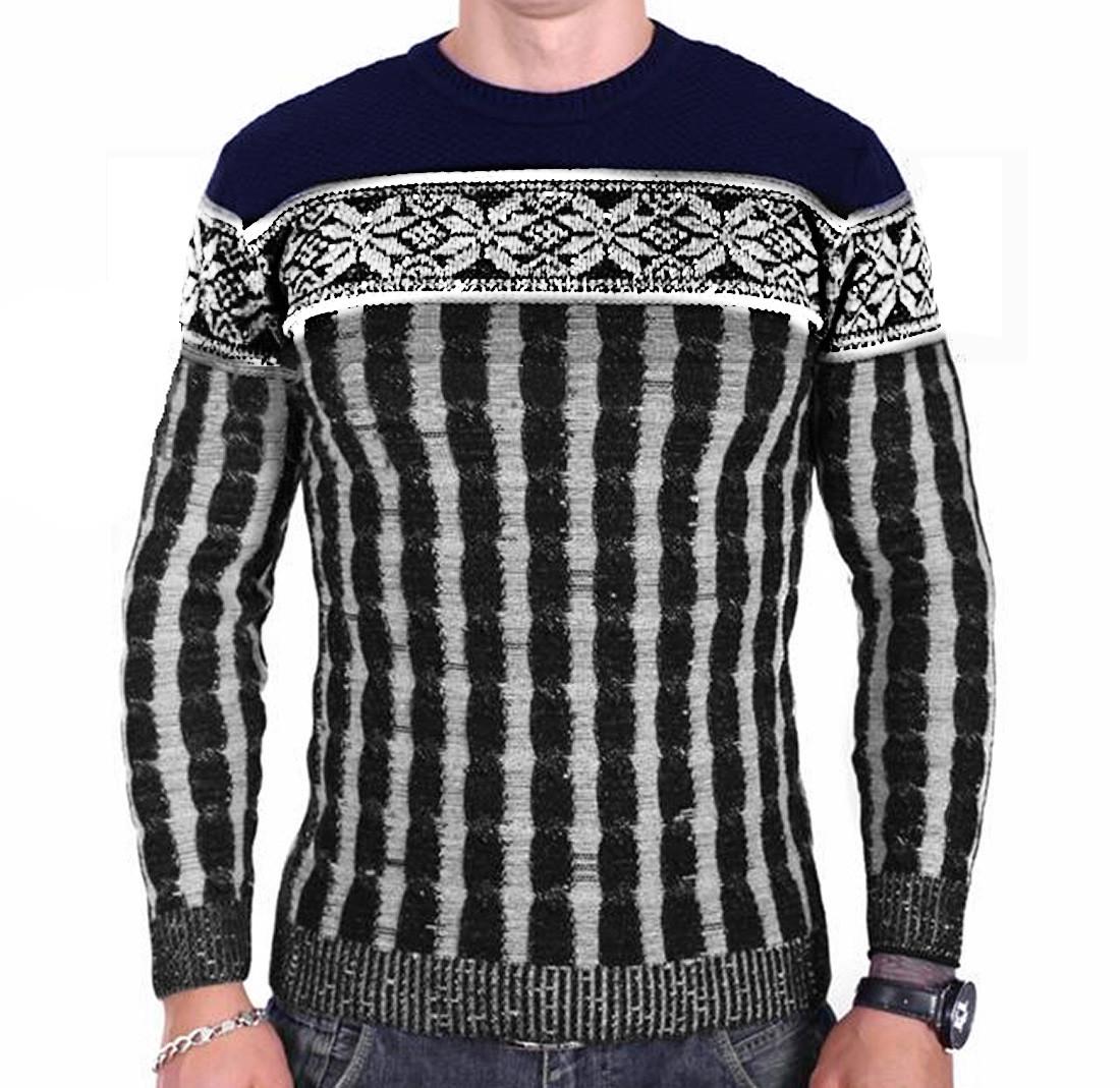 Чоловічий светр Msatiff k0218/1 Темно-синій з Чорним M