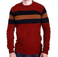 Мужской свитер в полоску YBM wear k0418/4 Красный XL